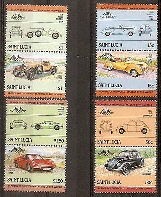 St. Lucia 1985 Motor Cars Automobile Transport 8v MNH # 3121