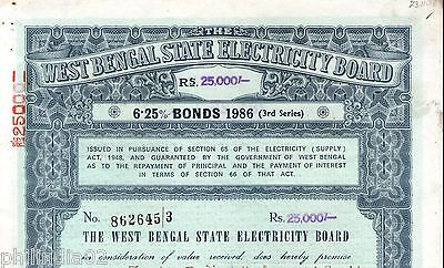 India 1986 West Bengal State Electricity Bonds 3rd Series Rs. 25000 # 10345T