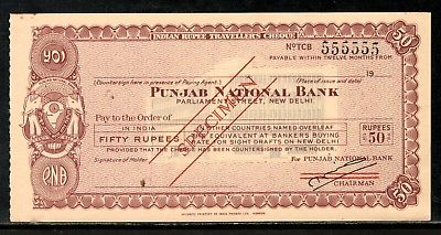 India Rs.50 Punjab National Bank Traveller's Cheques ' SPECIMEN ' RARE # 16221A