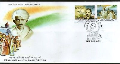 India 2015 100 Years of Mahatma Gandhi Return From South Africa Ship FDC