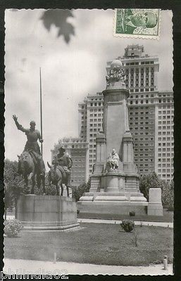 Spain 1954 Madrid Cerventes Monument View Picture Post Card to Finland #181