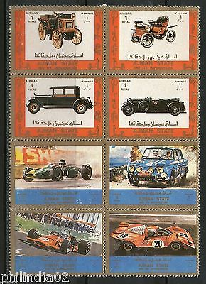 Ajman - UAE Classic Cars & Racing Car Transport Sheetlet Pan MINT # 7086