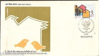 India 1987 Year of Shelter Home Phila-1092 FDC+FOLDER