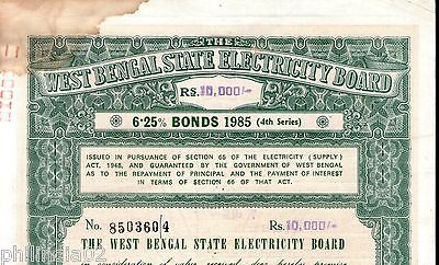 India 1985 West Bengal State Electricity Bonds 4th Series Rs. 10000 # 10345L