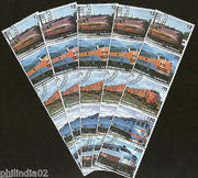 Tajikistan 1998 Locomotive Railway Train Transport Setenant Cancelled x5 # 6315