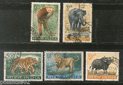 India 1963 Wild Life Preservation Lion Tiger Panda Elephant Phila-392a Used Set