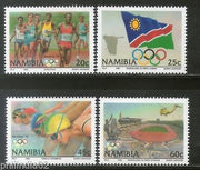 Namibia 1992 Barcelona Olympic Games Flag Runner Swimming Sc 718-21 MNH # 4267