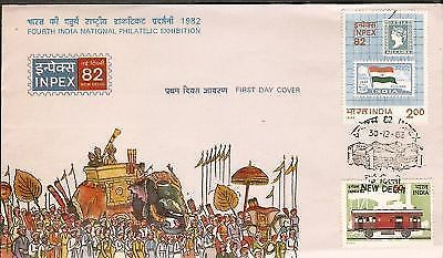 India 1982 INPEX Stamp on Stamp Phila-917-18 FDC+FOLDER