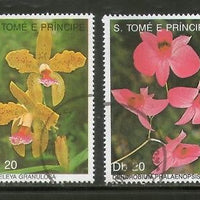 St. Thomas & Prince Island 1989 Flower Orchid Tree Plant Sc 868-69 2v Cancelled# 89a