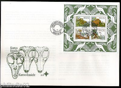 South Africa 1982 Dinosaurs Pre Historic Animals Fossils Sc 609 M/s on FDC # 261
