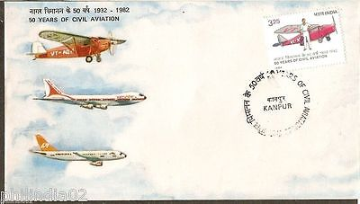 India 1982 50 Years of Civil Aviation Phila-901 FDC