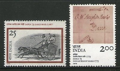 India 1975 Inpex 75 Phiatelic Exhibition Early Mail Cart Phila-673a MNH