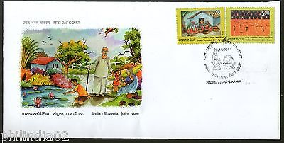 India 2014 India - Slovenia Joint Issue Children's Painting Art 2v FDC