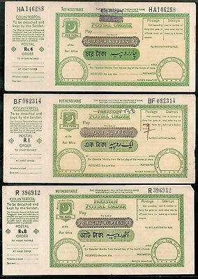 Pakistan O/p Bangladesh 3 Different Postal order with Counterfoil Unused # 16619