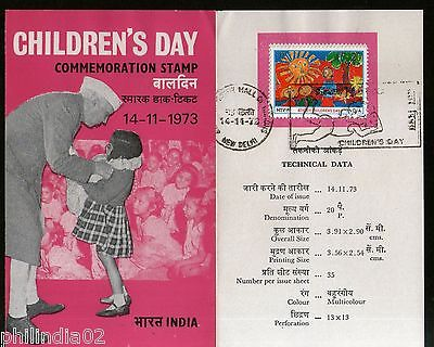 India 1973 Children's Day Nehru Painting Phila-592 Cancelled Folder