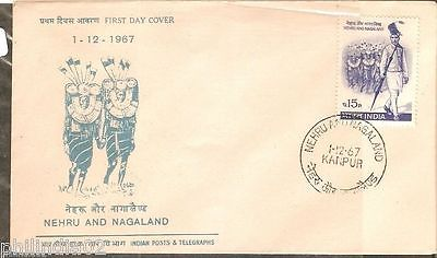 India 1967 Nehru & Nagaland Phila-454 FDC