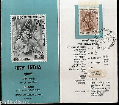 India 1971 UNESCO 25th Anniversary Phila-542 Cancelled Folder
