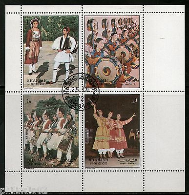 Sharjah - UAE 1972 Dance Costume Music Sheetlet Cancelled # 7976