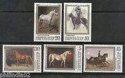 Russia 1988 Horses Paintings Horse Ridder Animals Sc 5694-98 MNH #1846