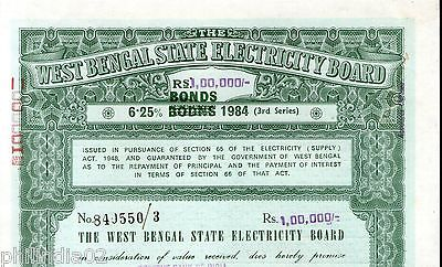 India 1984 West Bengal State Electricity Bonds 3rd Series Corrected Rs. 0.1M #45