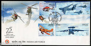 India 2007 75 Years of Indian Air force Aeroplane Phila-2306--9 FDC+Folder