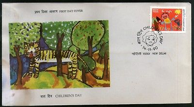 India 1990 Children's Day Painting Art Tiger Animal Wildlife FDC