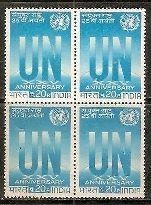 India 1970 United Nations Organisati Phila-513 BLK/4 MNH