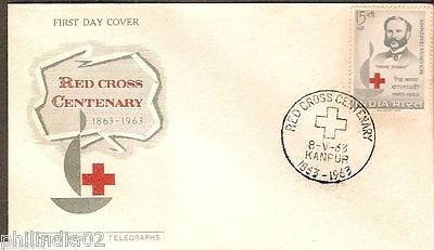 India 1963 Henry Dunet Red Cross Centenary Emblem Phila- 383 FDC