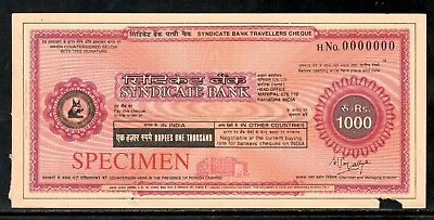 India Rs.1000 Syndicate Bank Traveller's Cheques ' SPECIMEN ' RARE # 16132D