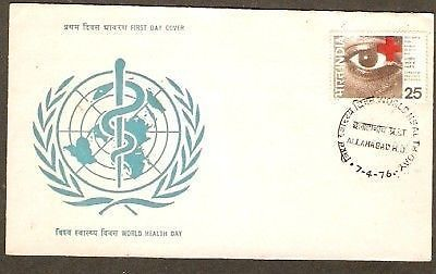 India 1976 World Health Day - Eye & Red Cross Phila-680 FDC+ Blank Folder