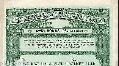 India 1987 West Bengal State Electricity Bonds 2nd Series Blank Scarce # 10345A