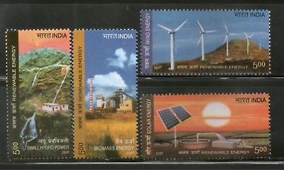 India 2007 Renewable Energy Solar Wind Hydro Biomass Phila-2315-18 4v MNH