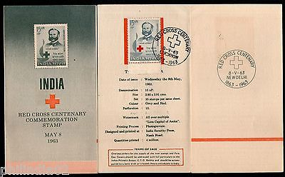 India 1963 Red Cross Centenary Henry Dunant Phila-383 Cancelled Folder