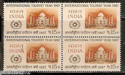 India 1967 Taj Mahal International Tourist Year BLK/4 Phila-443 / Sc 447 MNH