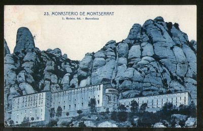 Spain 1927 Barcelona Montserrat Monastery View Picture Post Card to Sweden # 219