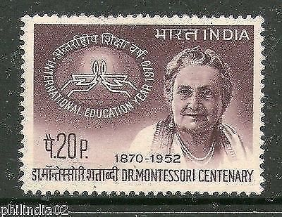 India 1970 Dr. Maria Montessori  Phila-515 1v MNH