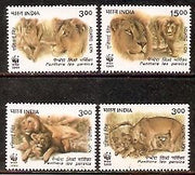 India 1999 Endangered Species WWF Asiatic Lion Wild Life Animal Phila-1703-6 MNH