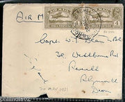 India 1931 KG V Air Mail Stamp on Cover Drigh Road Karachi to England # 1451-03