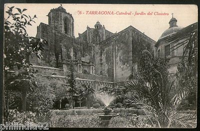 Spain 1924 Tarragona Cathedral of the Cloister View Picture Post Card to Sweden