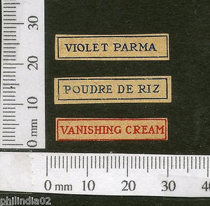 India 1950's Vanishing Cream X3 Print Vintage Perfume Label Multi-colour # 4010B