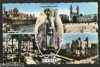 Spain 1960 Cadiz Memory Hotel Plaza Monument View Picture Post Card to Finland