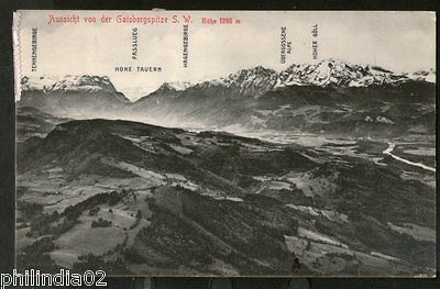 Austria 1908 Gaisbergspitze Mountain Ht.1286m View Picture Post Card to Denmark