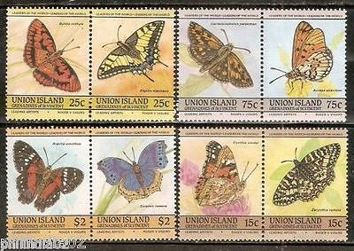 St. Vincent Grenadines Union Islands1985 Butterflies Insect Fauna 8v MNH # 3174