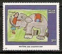 India 2000 National Children's Day Painting Best Friend Elephant Phila-1795 MNH