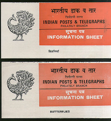 India 1981 Butterflies Insect Phila-869a 2 Diff. Hindi & English Blank Folder # 16181