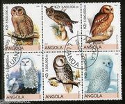 Angola 2000 Birds Snowy Owl Long Ear Owl Setenant BLK/6 Cancelled # 13485