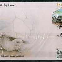 India 2008 Aldabra Giant Tortoise Reptiles Phila-2367a Commercial Used FDC - 04