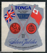 Tonga 1977 $1 Flags and Arms of Britain Surcharge Odd Shaped Sc C238 MNH # 1881