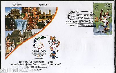 India 2010 Queen's Baton Relay Muscot Shera Sport BANGALORE Special Cover # 9614