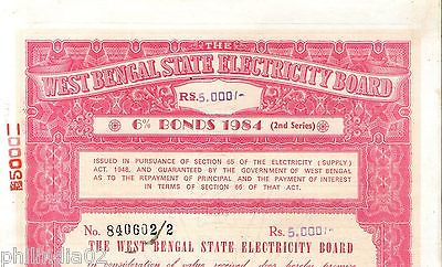 India 1984 West Bengal State Electricity Bonds 2nd Series Rs. 5000 # 10345G